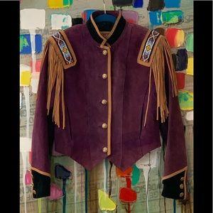 HP 🎉 Vtg plum suede bead fringe western jacket M